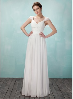 A-Line/Princess V-neck Floor-Length Chiffon Evening Dress With Ruffle Beading (017018950)