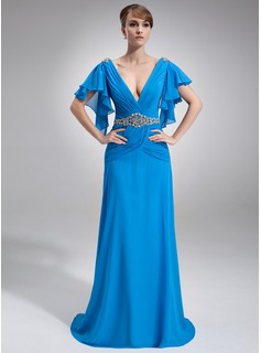 A-Line/Princess V-neck Court Train Chiffon Mother of the Bride Dress With Beading Cascading Ruffles