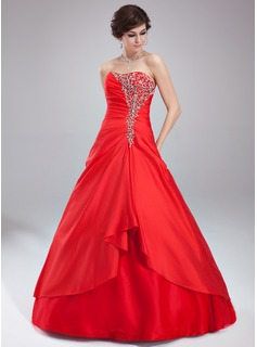 Ball-Gown Sweetheart Floor-Length Taffeta Tulle Quinceanera Dress With Ruffle Beading (021004571)