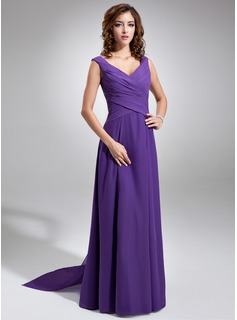 A-Line/Princess V-neck Watteau Train Chiffon Bridesmaid Dress With Ruffle (007001484)