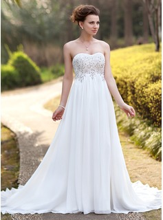 Empire Sweetheart Court Train Chiffon Wedding Dress With Ruffle Lace Beadwork