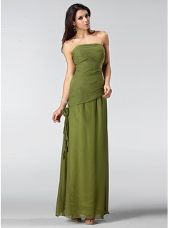 Sheath Strapless Floor-Length Chiffon Mother of the Bride Dress With Ruffle Flower(s) (008005212)