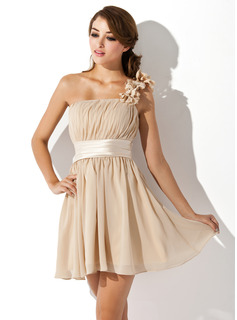 A-Line/Princess One-Shoulder Short/Mini Chiffon Charmeuse Bridesmaid Dress With Ruffle Flower(s) Bow
