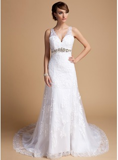 A-Line/Princess V-neck Chapel Train Satin Tulle Wedding Dress With Lace Beading