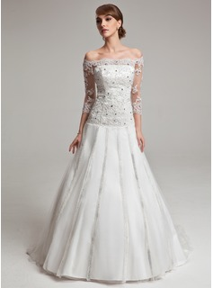 Ball-Gown Off-the-Shoulder Sweep Train Tulle Charmeuse Wedding Dress With Lace Beadwork (002017567)