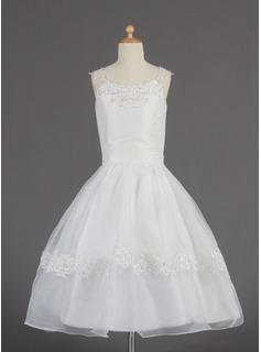 A-Line/Princess Scoop Neck Tea-Length Organza Flower Girl Dress With Lace Beading Sequins (010014622)