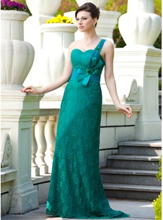 A-Line/Princess One-Shoulder Sweep Train Chiffon Charmeuse Lace Mother of the Bride Dress With Ruffle Beading (008024567)