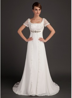 A-Line/Princess Scoop Neck Court Train Chiffon Satin Wedding Dress With Lace Beadwork (002015553)