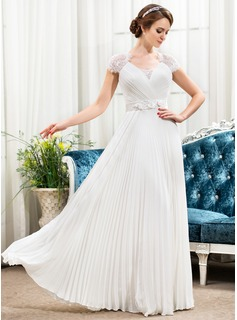 A-Line/Princess Sweetheart Floor-Length Chiffon Satin Lace Wedding Dress With Beading Flower(s) Sequins Pleated