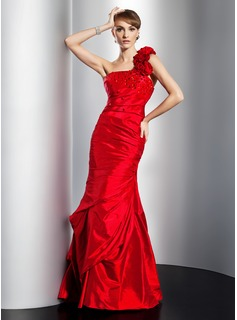 Trumpet/Mermaid One-Shoulder Floor-Length Taffeta Prom Dress With Ruffle Beading