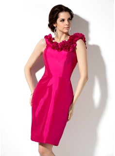 Sheath Scoop Neck Knee-Length Taffeta Bridesmaid Dress With Flower(s) (007004285)