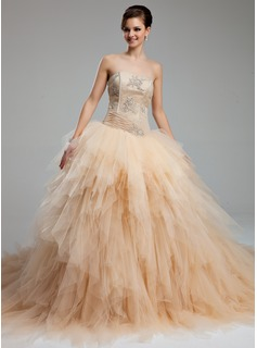 Ball-Gown Sweetheart Cathedral Train Satin Tulle Wedding Dress With Ruffle Lace Beadwork