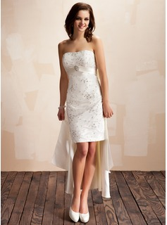 Sheath/Column Sweetheart Asymmetrical Detachable Satin Lace Wedding Dress With Beading Crystal Brooch Sequins Bow(s)