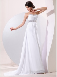 Empire Sweetheart Sweep Train Chiffon Prom Dress With Ruffle Beading Sequins