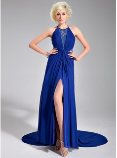 A-Line/Princess Scoop Neck Court Train Chiffon Lace Evening Dress With Ruffle Split Front