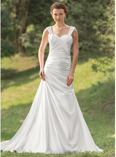 A-Line/Princess Sweetheart Court Train Charmeuse Wedding Dress With Ruffle