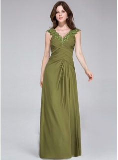 A-Line/Princess V-neck Floor-Length Chiffon Evening Dress With Ruffle Lace Beading
