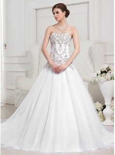 Ball-Gown Sweetheart Cathedral Train Satin Tulle Wedding Dress With Embroidery Beadwork (002012752)