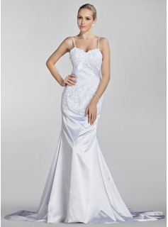 Mermaid Sweetheart Court Train Charmeuse Wedding Dress With Ruffle Lace Beadwork (002000445)