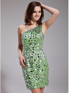 Sheath One-Shoulder Short/Mini Charmeuse Prom Dress With Beading Sequins (018019182)