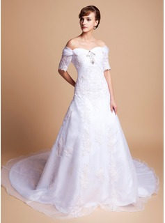 A-Line/Princess Off-the-Shoulder Court Train Organza Satin Wedding Dress With Lace Beadwork (002011512)