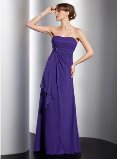 Empire Sweetheart Sweep Train Chiffon Bridesmaid Dress With Ruffle Beading