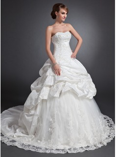 Ball-Gown Sweetheart Chapel Train Taffeta Tulle Wedding Dress With Ruffle Lace Beading