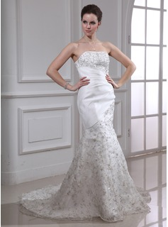 Mermaid Strapless Sweep Train Organza Satin Wedding Dress With Embroidery Beadwork Sequins (002000338)