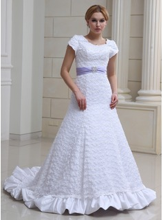 A-Line/Princess Scoop Neck Court Train Satin Lace Wedding Dress With Ruffle Sashes Beadwork (002000230)