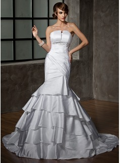 Mermaid Scalloped Neck Court Train Satin Wedding Dress With Ruffle Beadwork (002012158)