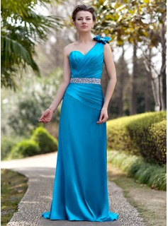 A-Line/Princess One-Shoulder Sweep Train Charmeuse Mother of the Bride Dress With Ruffle Beading Flower