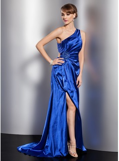 Sheath One-Shoulder Sweep Train Charmeuse Evening Dress With Ruffle Beading