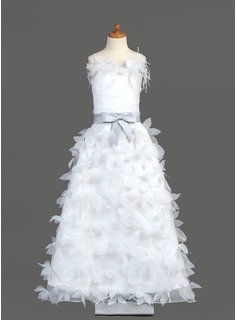 A-Line/Princess Floor-Length Organza Charmeuse Flower Girl Dress With Sash Feather Flower(s) Bow(s)