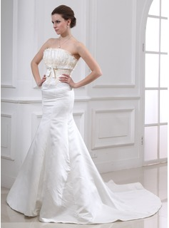 Mermaid Scalloped Neck Chapel Train Satin Wedding Dress With Embroidery Beadwork (002000079)