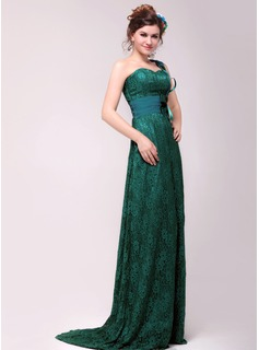 A-Line/Princess One-Shoulder Sweep Train Chiffon Charmeuse Lace Evening Dress With Beading (017014017)