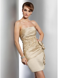 Sheath Strapless Short/Mini Satin Cocktail Dress With Ruffle Lace Beading Flower(s)