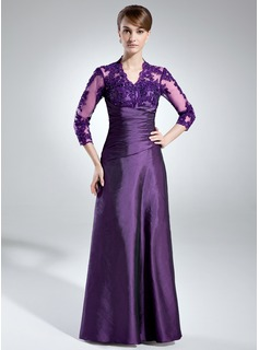 A-Line/Princess V-neck Floor-Length Taffeta Lace Mother of the Bride Dress With Ruffle Beading (008005866)