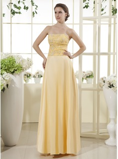 A-Line/Princess Strapless Floor-Length Satin Mother of the Bride Dress With Lace (008015447)