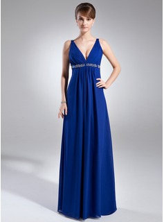 Empire V-neck Floor-Length Chiffon Prom Dress With Ruffle Beading Sequins (018002477)
