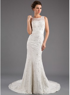Trumpet/Mermaid Scoop Neck Court Train Satin Lace Wedding Dress With Beading Sequins Bow