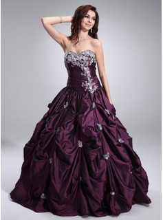Ball-Gown Sweetheart Floor-Length Taffeta Quinceanera Dress With Ruffle Lace Beading (021004652)