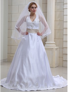 A-Line/Princess Halter Chapel Train Satin Wedding Dress With Embroidery Sashes Beadwork (002000039)