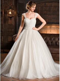 Ball-Gown Sweetheart Chapel Train Taffeta Tulle Wedding Dress With Ruffle Beading Sequins