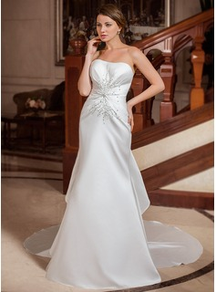 Trumpet/Mermaid Sweetheart Chapel Train Satin Wedding Dress With Beading Sequins Cascading Ruffles