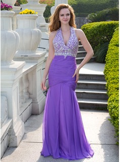 Mermaid Halter Floor-Length Chiffon Prom Dress With Ruffle Beading (018024655)