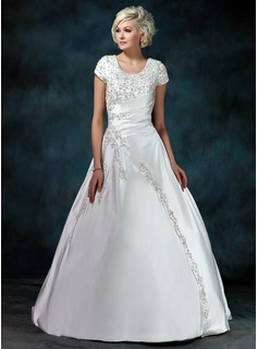 Ball-Gown Scoop Neck Sweep Train Satin Wedding Dress With Ruffle Beadwork Sequins (002011976)