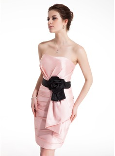 Sheath Sweetheart Short/Mini Taffeta Cocktail Dress With Ruffle Sash Flower(s) (016021232)