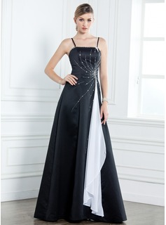 A-Line/Princess Floor-Length Chiffon Satin Mother of the Bride Dress With Sash Beading Cascading Ruffles