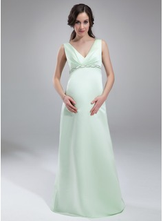 Empire V-neck Floor-Length Satin Maternity Bridesmaid Dress With Ruffle Beading