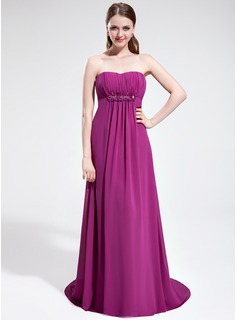 Empire Sweetheart Sweep Train Chiffon Prom Dress With Ruffle Beading Flower(s)